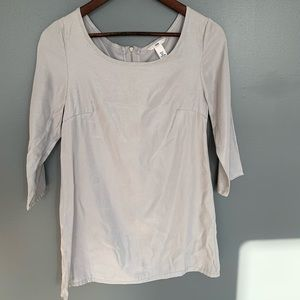 H&M 3/4 Sleeve Silk Blouse Silver Size 4